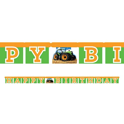 Tractor Time Jointed Letter Banner Bunting - 1.7m