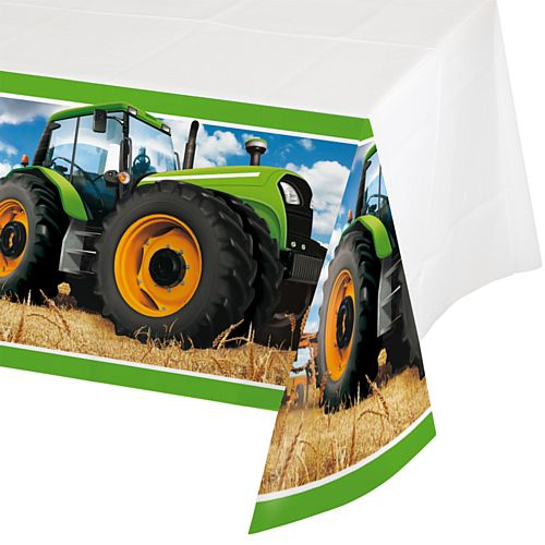 Tractor Time Plastic Tablecloth - Each