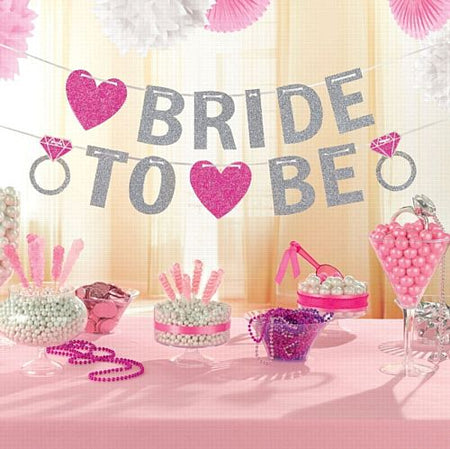 Hen Party Bride To Be Glitter Letter Banner 365m