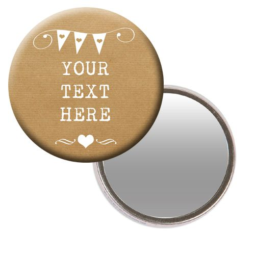 Personalised Pocket Mirror- Rustic Design