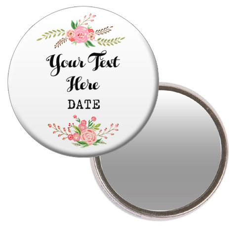 Personalised Pocket Mirror- Boho Flower Design