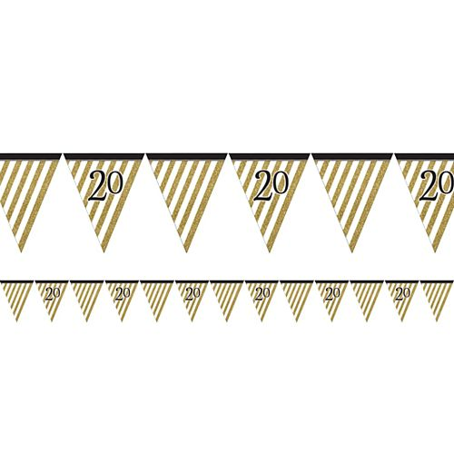 "Black and Gold ""Happy 20th Birthday"" Bunting - 3.7m"