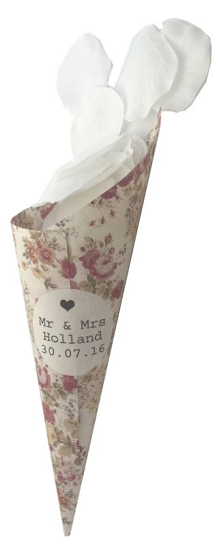 Personalised Vintage Rose Confetti Cones With Stickers- Pack of 15