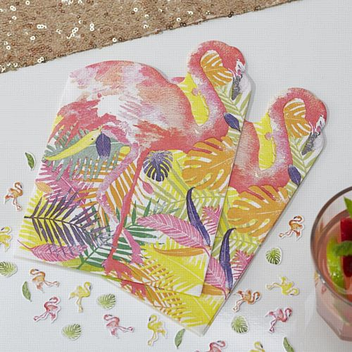 Flamingo Shaped Napkins - 33cm - Pack of 20