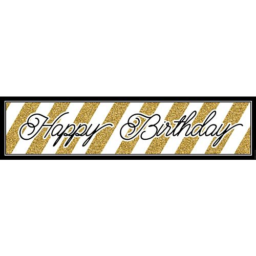 Black and Gold Birthday Banner - 1.2m