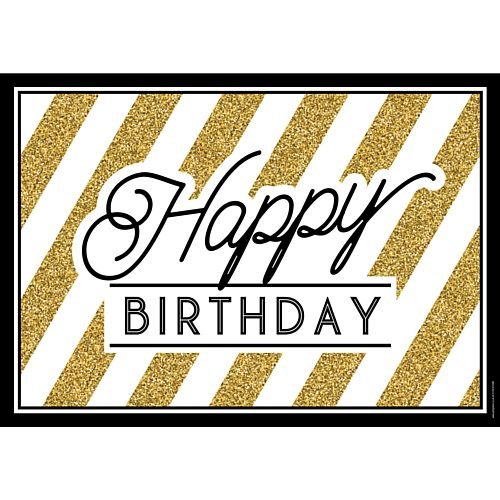 Black and Gold Happy Birthday Poster - A3