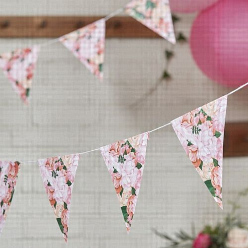 Boho Wedding Floral Paper Bunting - 3m