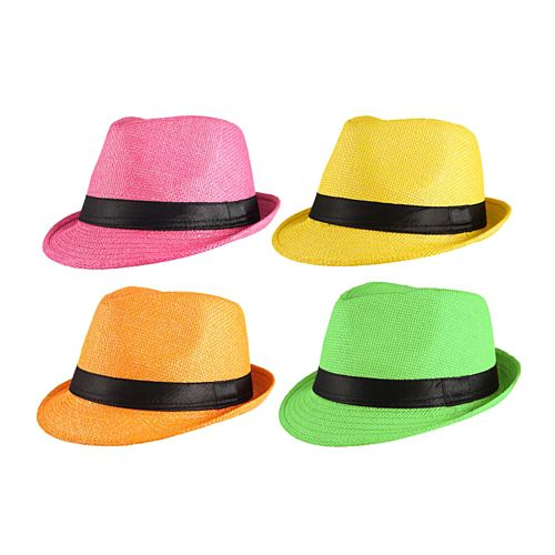 Neon Gangster Trilby Straw Hat - Assorted Colours - Each