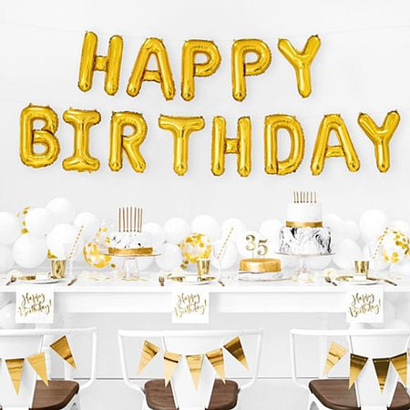 Gold Happy Birthday Foil Balloon Bunting - 3.4m