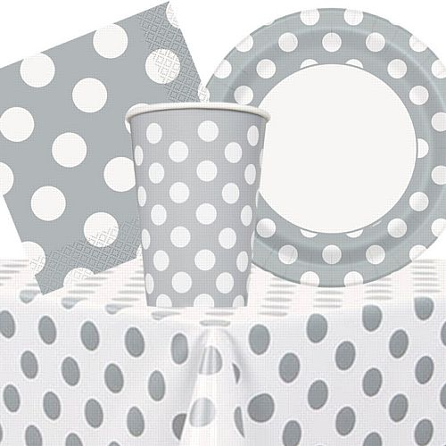 Silver Dots Tableware Party Pack - For 8