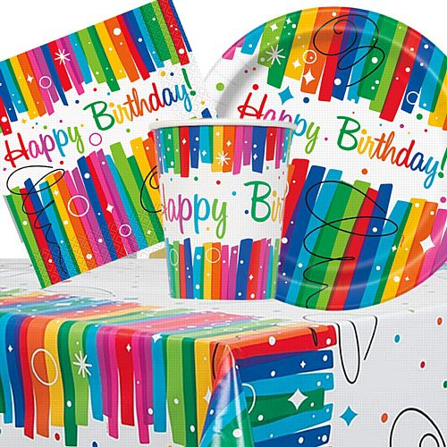Rainbow Ribbons Tableware Party Packs - For 8