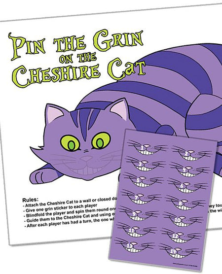 Pin the Grin on the Cheshire Cat Game With Stickers