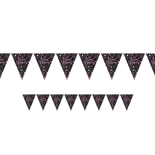 "Pink Celebration ""Happy Birthday"" Prismatic Pennant Bunting - 4m"