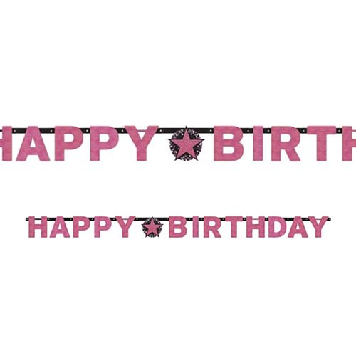 "Pink Celebration ""Happy Birthday"" Prismatic Letter Banner - 2.13m"