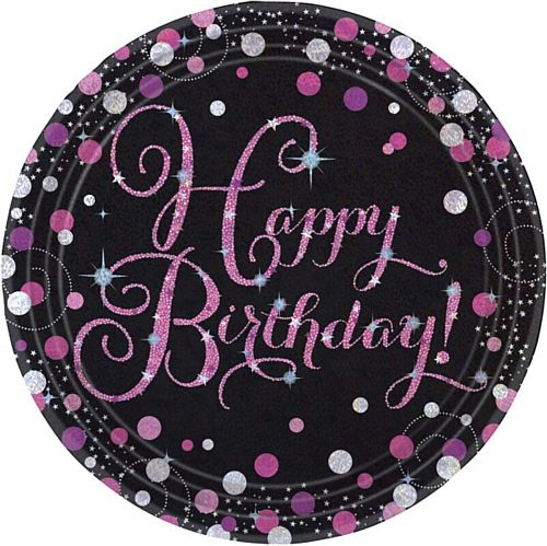 "Pink Celebration ""Happy Birthday"" Paper Plates - 9"" - Pack of 8"