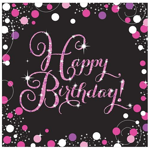 "Pink Celebration ""Happy Birthday"" Napkins - 33cm - Pack of 16"
