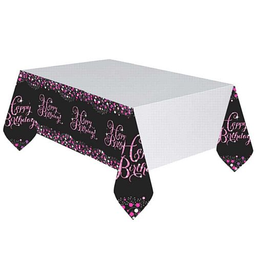 "Pink Celebration ""Happy Birthday"" Tablecloth - 2.59m"