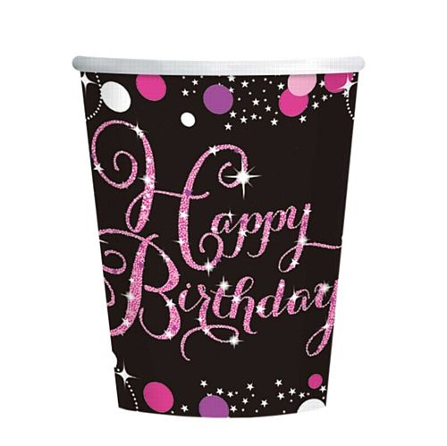 "Pink Celebration ""Happy Birthday"" Paper Cups - 266ml - Pack of 8"