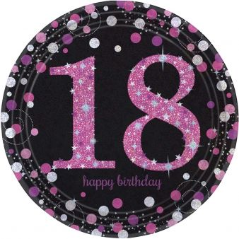 "Pink Celebration ""18th Birthday"" Paper Plates - 9"" - Pack of 8"