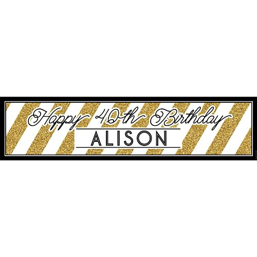 Black and Gold Personalised Banner - 1.2m