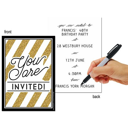 Black and Gold Invites - Pack of 8