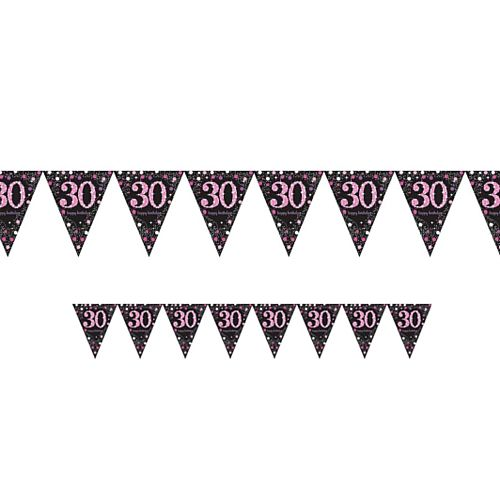 "Pink Celebration ""30th Birthday"" Prismatic Pennant Bunting - 4m"