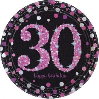 "Pink Celebration ""30th Birthday"" Paper Plates - 9"" - Pack of 8"