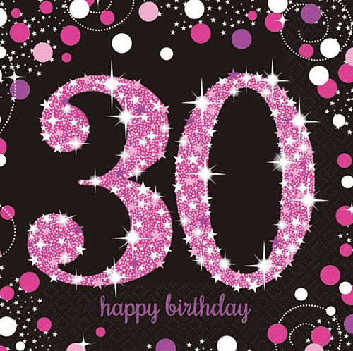 "Pink Celebration ""30th Birthday"" Napkins - 33cm - Pack of 16"
