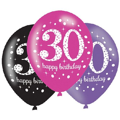 "Pink Celebration ""30th Birthday"" Latex Balloons - 11"" - Pack of 6"