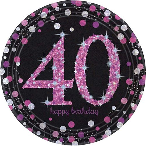 "Pink Celebration ""40th Birthday"" Paper Plates - 9"" - Pack of 8"