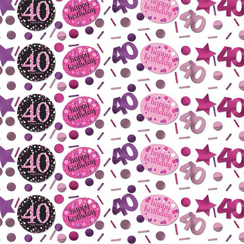 "Pink Celebration ""40th Birthday"" Confetti - 34g - Pack of 3"