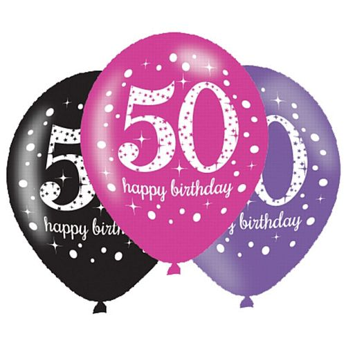 "Pink Celebration ""50th Birthday"" Latex Balloons - 11"" - Pack of 6"
