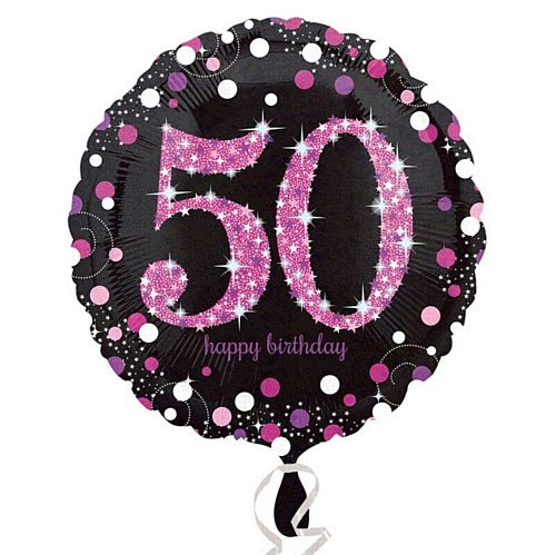 "Pink Celebration ""50th Birthday"" Foil Balloon - 18"""