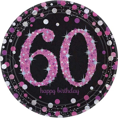 "Pink Celebration ""60th Birthday"" Paper Plates - 9"" - Pack of 8"