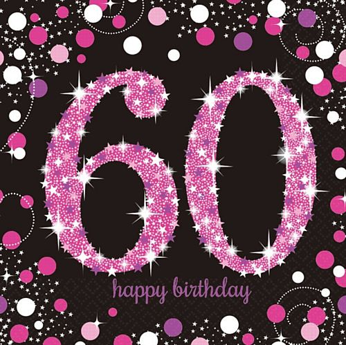 "Pink Celebration ""60th Birthday"" Napkins - 33cm - Pack of 16"