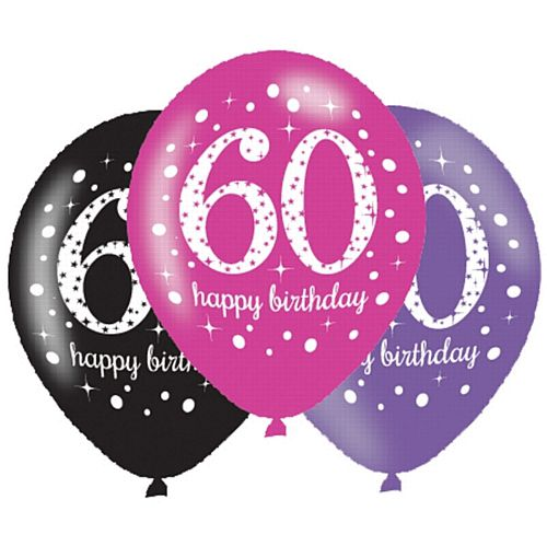 "Pink Celebration ""60th Birthday"" Latex Balloons - 11"" - Pack of 6"