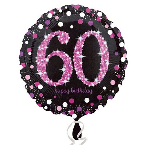 "Pink Celebration ""60th Birthday"" Foil Balloon - 18"""