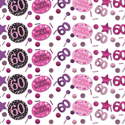 "Pink Celebration ""60th Birthday"" Confetti - 34g - Pack of 3"