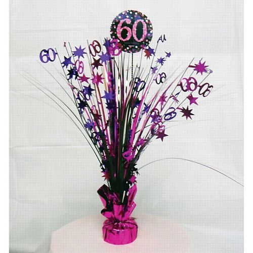 "Pink Celebration ""60th Birthday"" Centrepiece - 33cm"