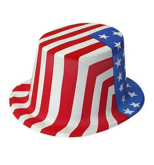 American Flag Plastic Top Hat