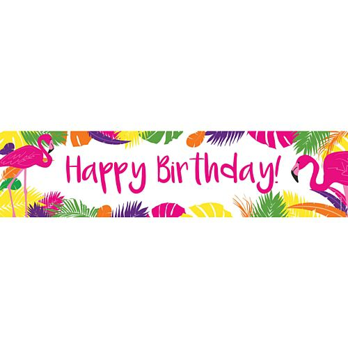 Tropical Flamingo Happy Birthday Banner - 1.2m