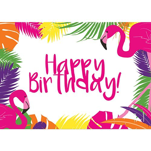 Tropical Flamingo Happy Birthday Poster - A3