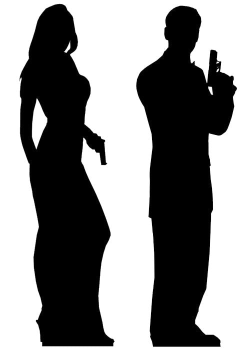 Male and Female Double Secret Agent Silhouette Cutouts - 1.85m