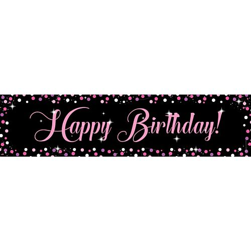 Birthday Sparkle Pink Happy Birthday Banner - 1.2m
