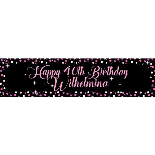 Birthday Sparkle Pink Personalised Banner - 1.2m