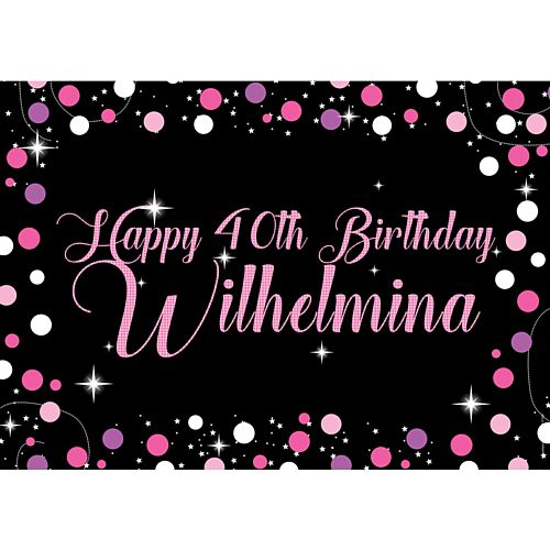 Birthday Sparkle Pink Personalised Poster - A3