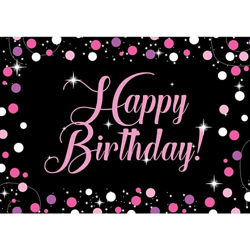 Birthday Sparkle Pink Happy Birthday Poster - A3