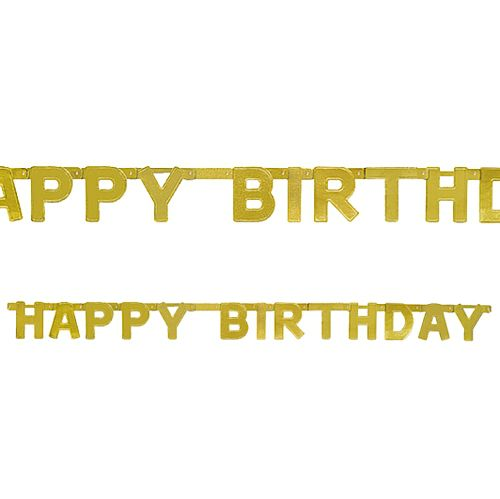 Happy Birthday Gold Jointed Letter Banner - 1.21m - Each