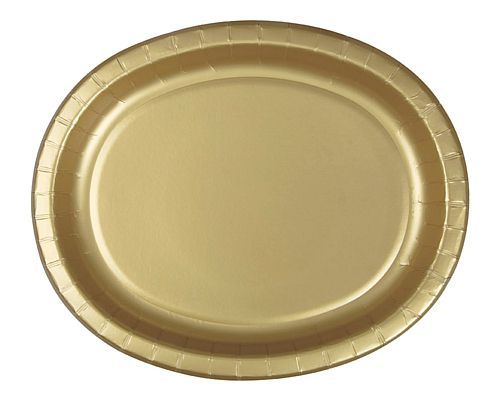 "Gold Oval Shaped Paper Plates - 12"" - Pack of 8"