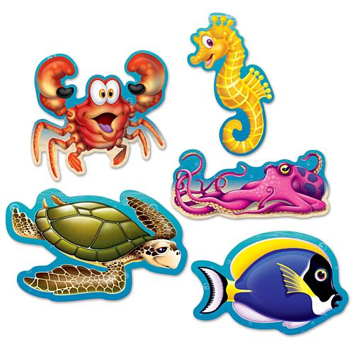Mini Under The Sea Cutout Decorations - 12.7cm - Pack of 10